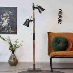 Livin24 | Vloerlamp Boaz 2-lichts